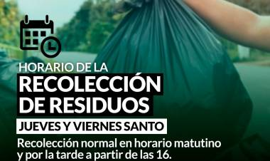 Horario de recolección de residuos jueves y viernes santo⠀