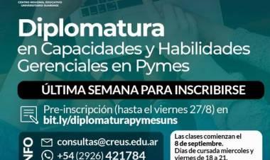 CREUS-UNS: Últimos días para inscribirse en la Diplomatura en Capacidades y Habilidades Gerenciales en Pymes