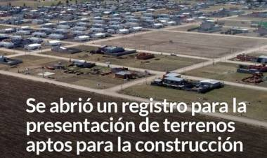 Se abrió un registro para la presentación de terrenos aptos para la construcción