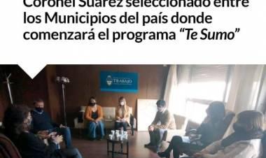 """Coronel Suarez seleccionado entre los Municipios del país donde comenzará el programa """"Te Sumo"""""""