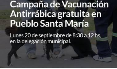 Campaña de Vacunación Antirrábica gratuita en Pueblo Santa María⠀