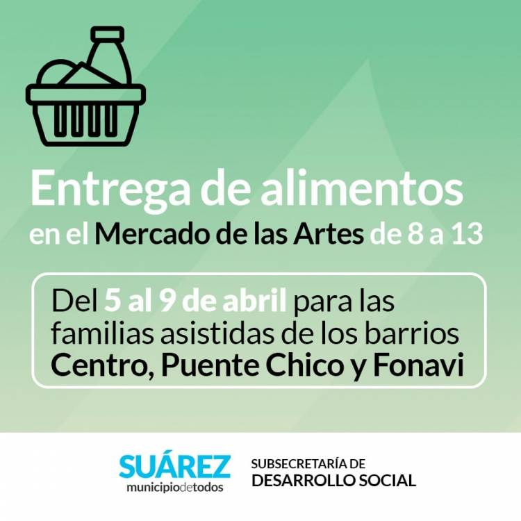 Desarrollo Social: Entrega de alimentos en el Mercado de las Artes