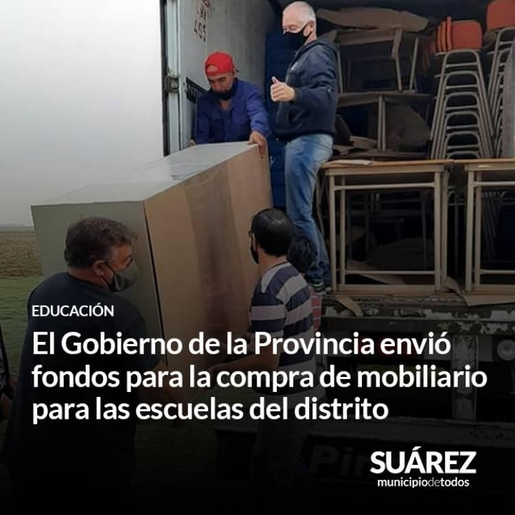 El Gobierno de la Provincia envió fondos para la compra de mobiliario para las escuelas del distrito⠀