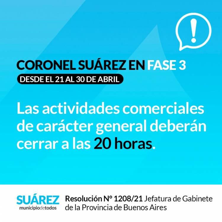 CORONEL SUAREZ CONTINÚA EN FASE 3