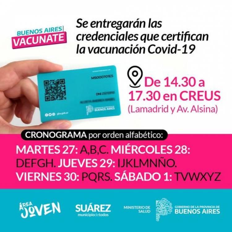 Vacunate Suarez: Se entregarán las credenciales que certifican la vacunación Covid-19⠀