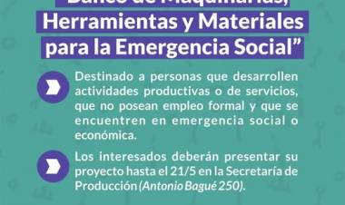 """Convocatoria para el programa """"Banco de Maquinarias, Herramientas y Materiales para la Emergencia Social""""⠀"""