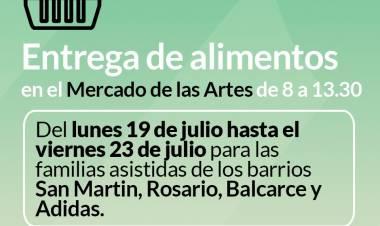 Entrega de alimentos del mes de julio en el Mercado de las Artes