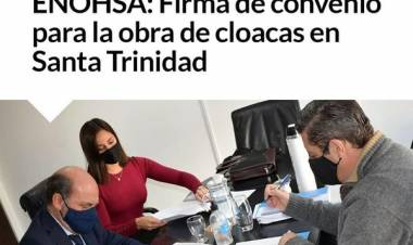ENOHSA: Firma de convenio para la obra de cloacas en Santa Trinidad
