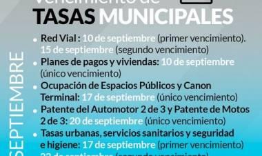 Vencimiento de tasas municipales del mes de septiembre