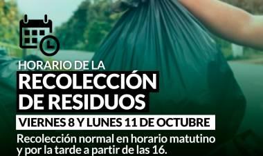 HORARIO DE RECOLECCIÓN DE RESIDUOS DURANTE LOS FERIADOS NACIONALES DEL 8 Y 11 DE OCTUBRE