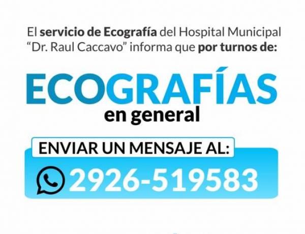 El servicio de Rayos y el servicio de Ecografías del Hospital Municipal informa