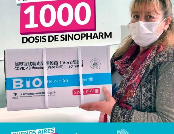 LA VACUNA ES LIBERTAD: LLEGARON 1000 DOSIS DE SINOPHARM