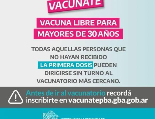ATENCIÓN: Vacunación libre para +30 inscriptos en VACUNATE e inscripción para adolescentes de 13 a 17 años