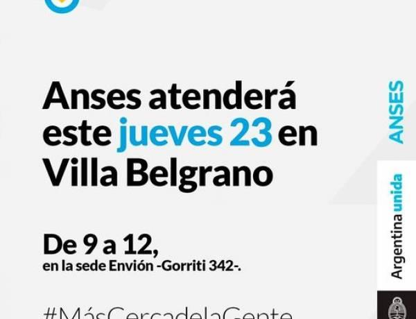 Anses atenderá en Villa Belgrano