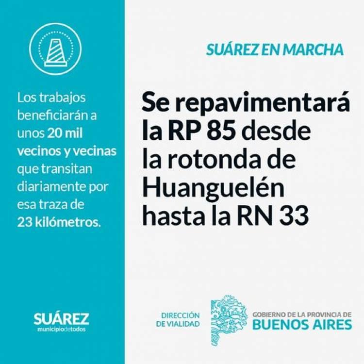 Gestionar es Hacer: Se repavimentará la RP 85 desde la rotonda de Huanguelén hasta la RN 33⠀
