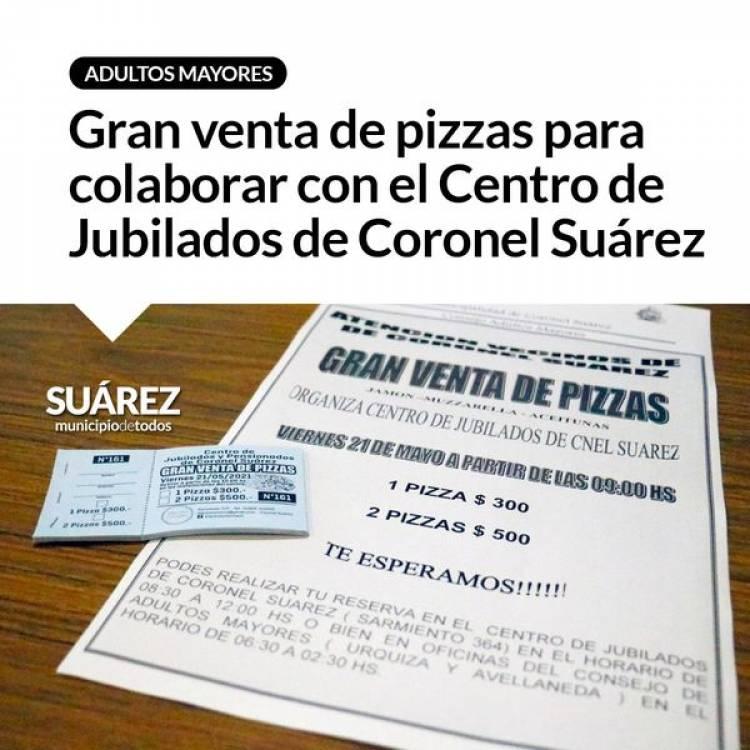 Gran venta de pizzas para colaborar con el Centro de Jubilados de Coronel Suárez⠀