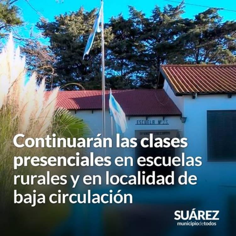 Continuarán las clases presenciales en escuelas rurales y en localidad de baja circulación