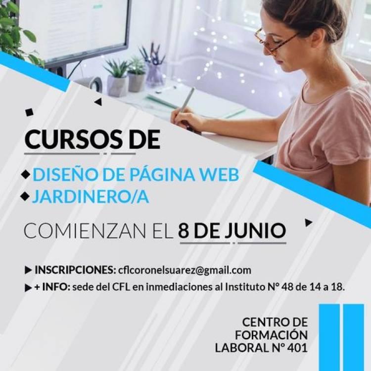 Inscripción a los cursos Diseño de Página Web y Jardinero/a⠀