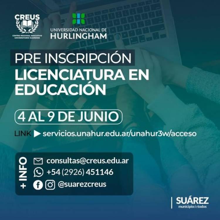 CREUS: Está abierta la pre-inscripción para la Licenciatura en Educación con la UNAHUR⠀