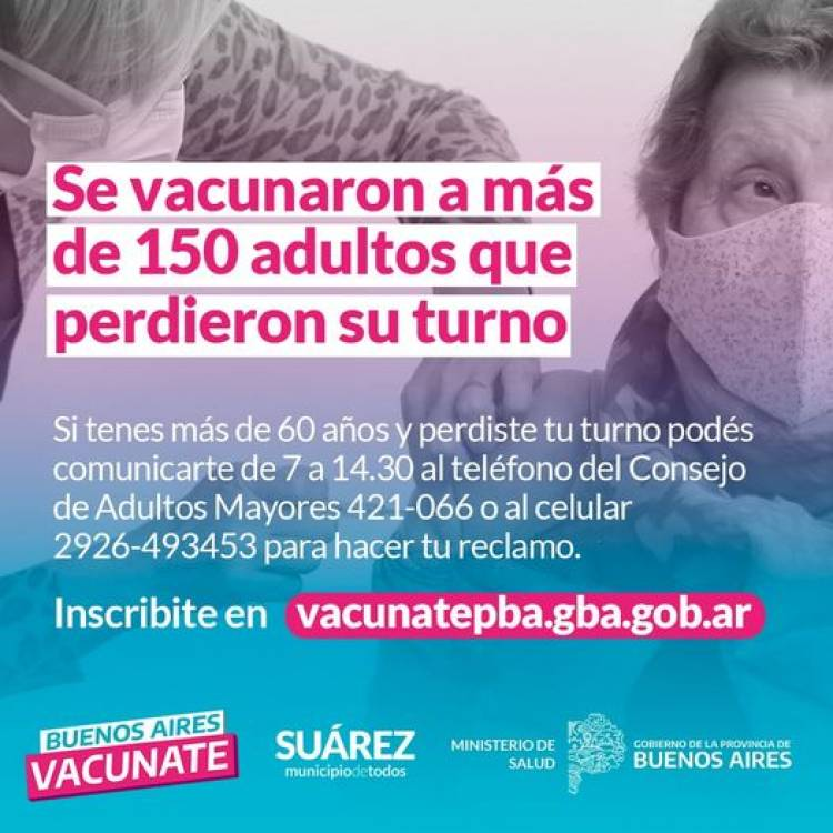 Se vacunaron a más de 150 adultos que perdieron su turno⠀