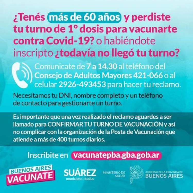 VACUNATE SUAREZ. ATENCION MAYORES DE 60 AÑOS