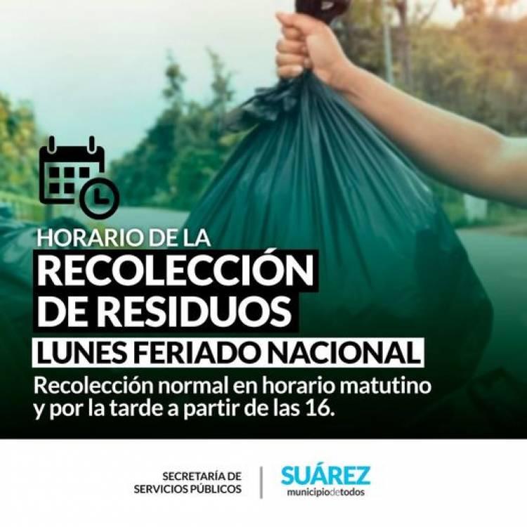 Horario de recolección de residuos lunes feriado