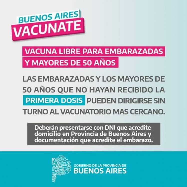 Información importante:  vacuna libre para EMBARAZADAS