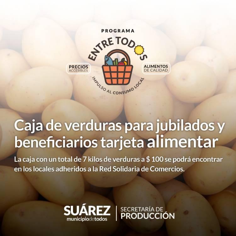 Programa Entre Todos: Caja de verduras para jubilados y beneficiarios tarjeta Alimentar