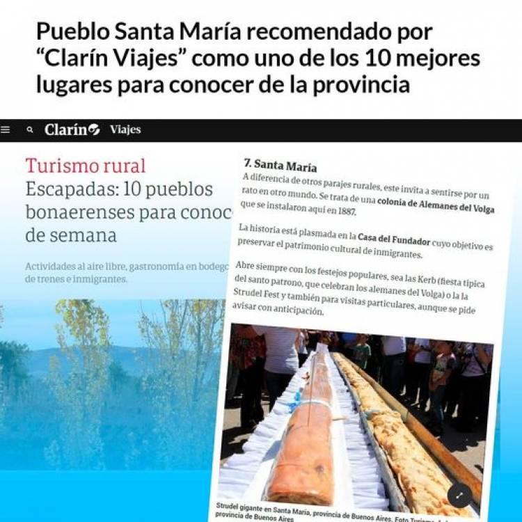 """Pueblo Santa María recomendado por """"Clarín Viajes"""" como uno de los 10 mejores lugares para conocer de la provincia"""