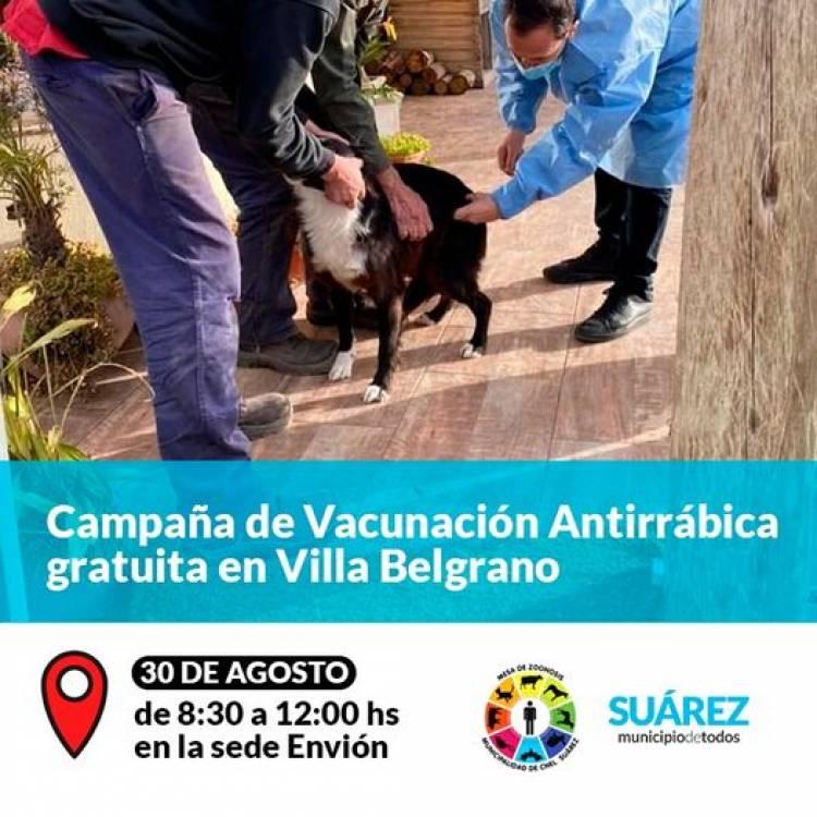 Campaña de Vacunación Antirrábica gratuita en Villa Belgrano⠀