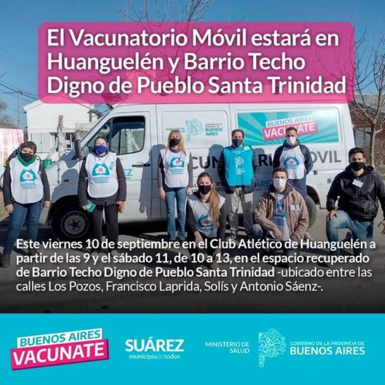 El Vacunatorio Móvil estará en Huanguelén y Barrio Techo Digno de Pueblo Santa Trinidad